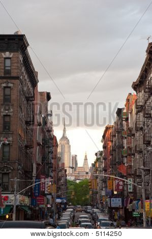 Chinatown And The Empire State Building.  New York City
