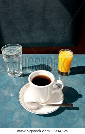 Water, Coffee, And Orange Juice