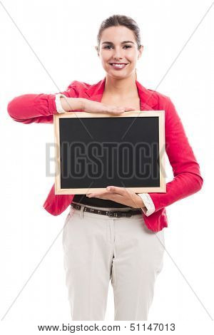 Business woman holding a shalk board on the hands, isolated over a white background (with copy space for designers)