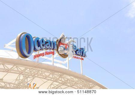 HONG KONG, CHINA - MAY 10, 2012: emblem of the Ocean Park, Hong Kong, may 10, 2012. Ocean Park, is a marine mammal park, oceanarium, situated in Wong Chuk Hang and Nam Long Shan in Hong Kong