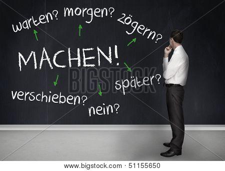 Thoughtful businessman looking at words machen warten morgen zogern spater verschieben nein on a chalkboard