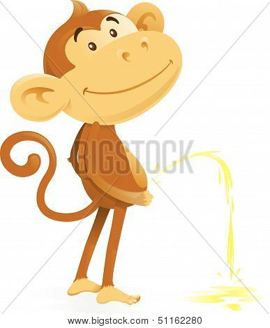 Cheeky Monkey Takes The Pee