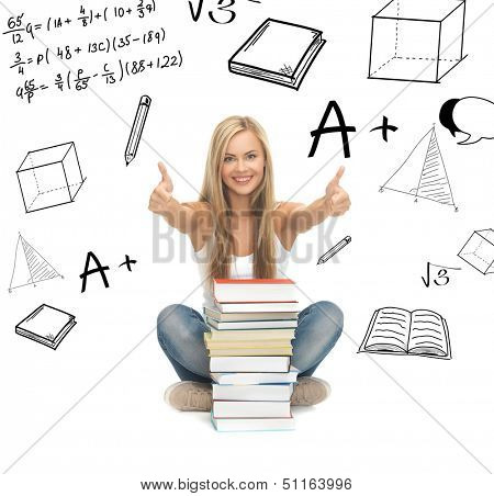 education and school concept - picture of smiling student with stack of books