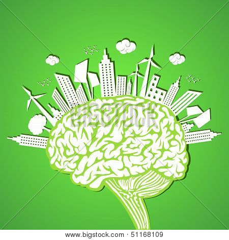 Ecology concept with brain