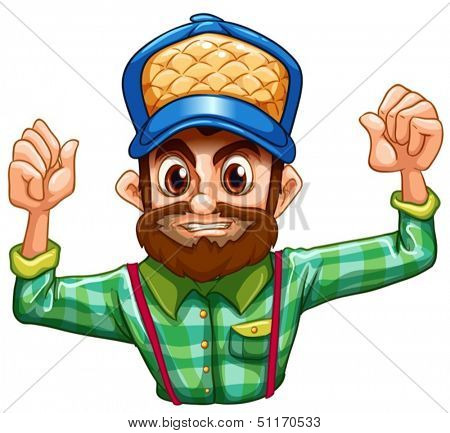Illustration of a lumberjack wearing a checkered longsleeve on a white background