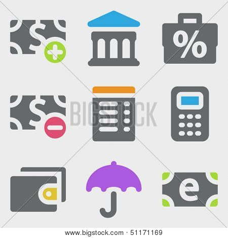 Finance web icons set 2 color icons