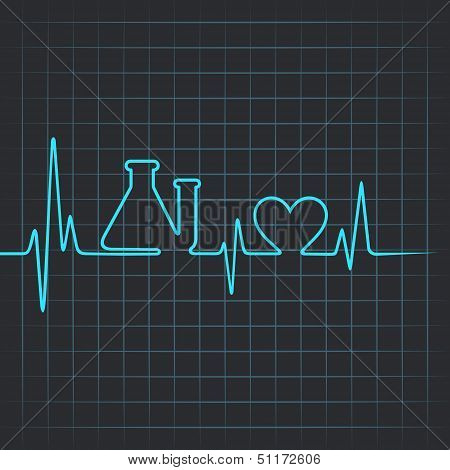 Heartbeat make testtube and heart symbol