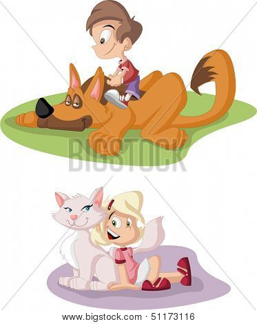 Colorful cute happy cartoon boy and girl with dog and cat. Pets.
