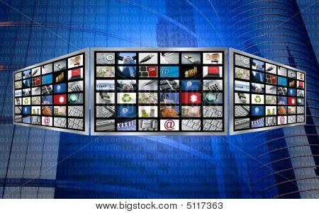globale 3d Bildschirm Fernsehen multimedia Tech Konzept