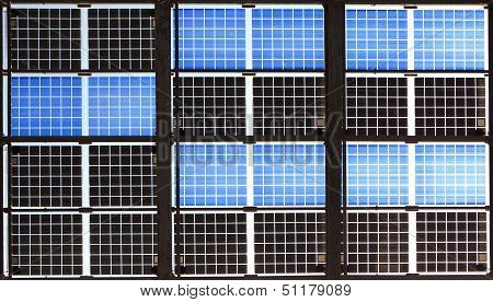 Close Up Of Solar Panel With Sunshine