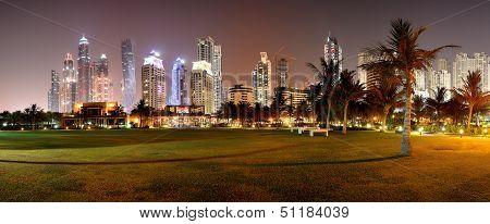 Panorama of night illumination of the luxury hotel Dubai UAE poster