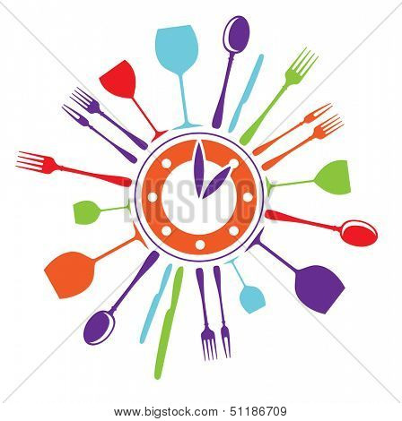 template idea for a logo fast food restaurant - a plate-clock with glasses, spoons, knives and forks on the perimeter