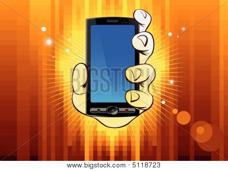 Hand With Mobile On Gold Background.eps