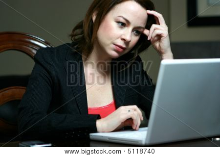 Bussiness Woman Working At Computer