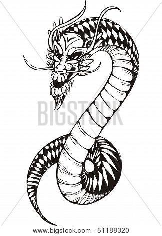 Black And White Oriental Dragon