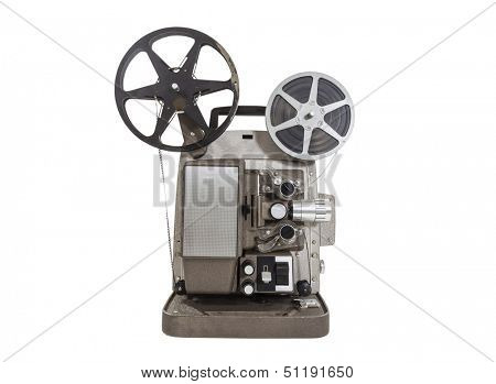 Old movie projector with film reels isolated.