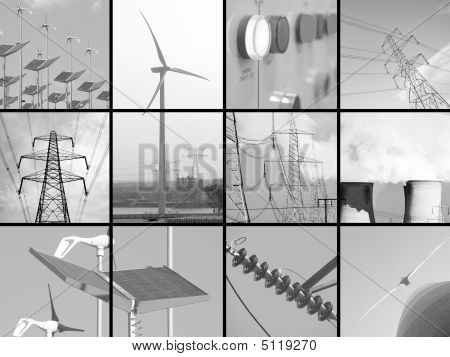 Set of twelve images relating to electricity poster