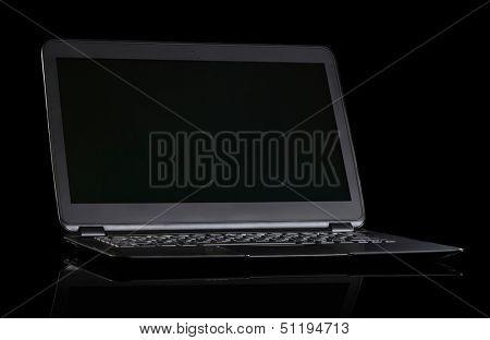 Laptop(ultrabook) on black background