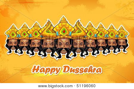illustration of Raavana with ten heads for Dussehra poster