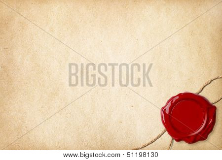 Old blank paper with wax seal and rope