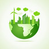 Eco earth concept with green cityscape stock vector poster