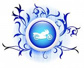 motorcycle icon on blue decorative button poster