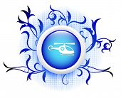helicopter icon on blue decorative button poster
