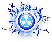 hazard icon on blue decorative button poster
