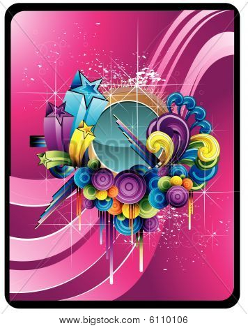 Circles abstract vector composition illustration over a purple background poster
