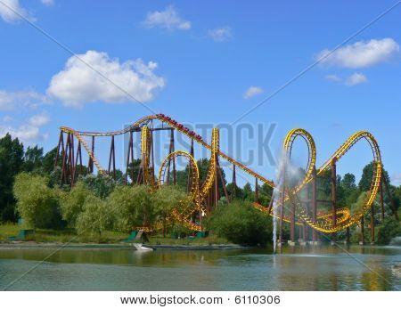 Rollercoaster in an amusement park, Paris, France