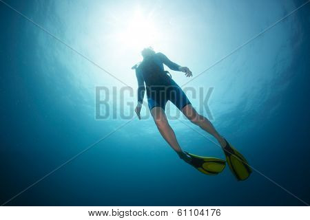 Free diver ascending to the surface