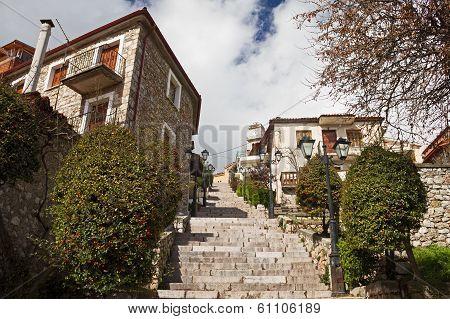 Stair Alley In Arachova, Greece