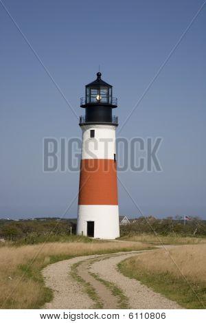 Sankaty Head Lighthouse With Gravel Road
