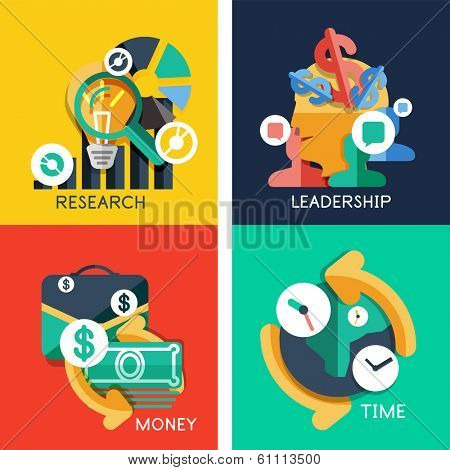 Set of flat design concepts - business idea, money, leadership, research, time