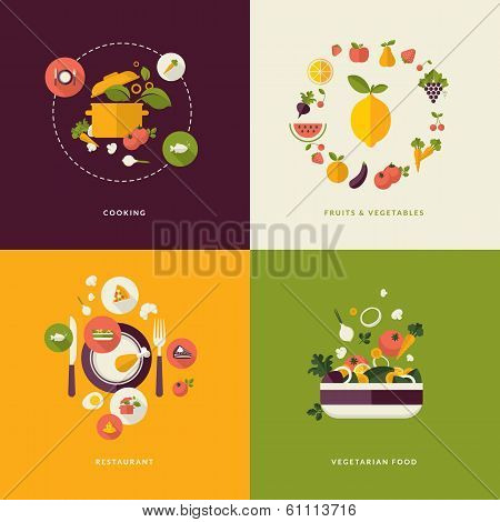 Icons for cooking, fruits and vegetables, restaurant and vegetarian food. poster