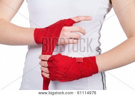 Woman Is Bandaging Her Hands