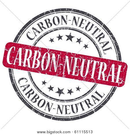 Carbon Neutral Red Grunge Round Stamp On White Background