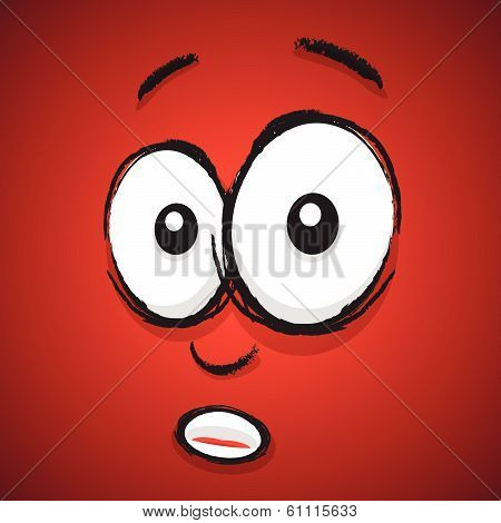 a red hand drawn shocked cartoon face poster