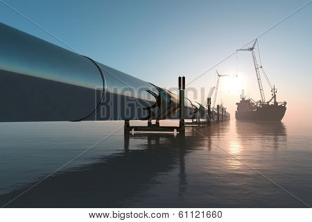 Construction of the pipeline into the sea.