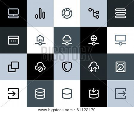 Hosting and wireless icons. Flat