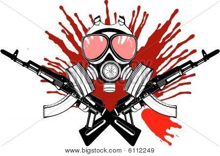 Gas Mask, Gun And Blood.