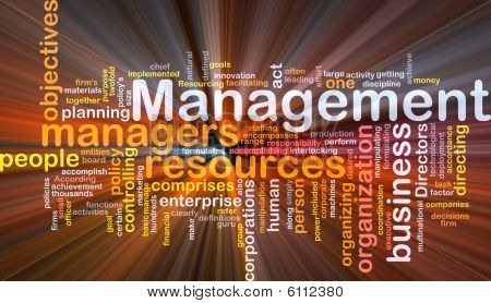 Management Word Cloud Glowing