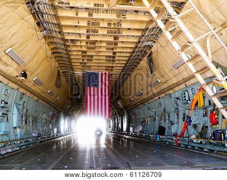 Cargo Hold of Lockheed C-5 Galaxy aircraft