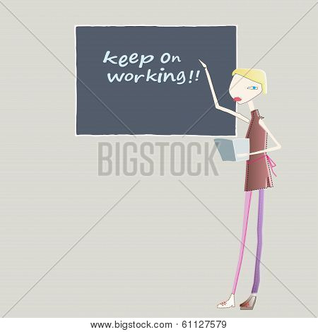 Teacher With A Blackboard.eps