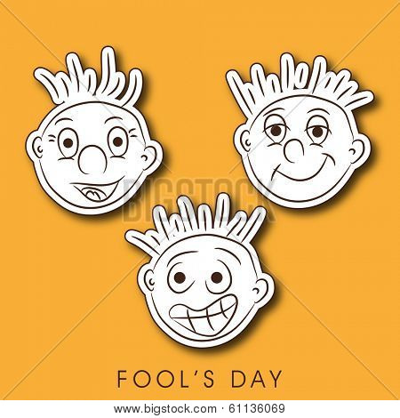 Happy Fool's Day funky concept with funny faces on bright yellow background. poster