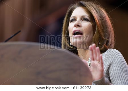 NATIONAL HARBOR, MD - MARCH 8, 2014: Congresswoman Michele Bachmann (R-MN) speaks at the Conservative Political Action Conference (CPAC).