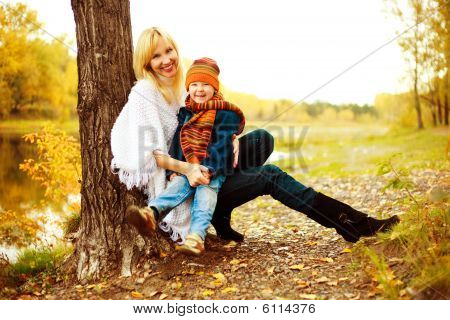 Mother With Her Son (focus On The Boy)