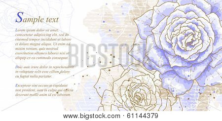 Romantic background with blue roses