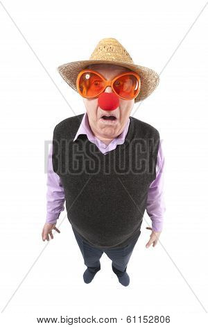 Funny fisheye portrait of the cheerful elderly man