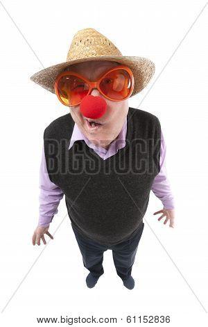 Funny fisheye portrait of the cheerful elderly man